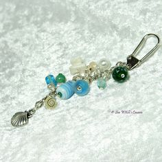 Handbag Charm with Sea Shell Charm, Blue Purse Charm, Keychain Charms, Free UK Postage, C0007 by SeaWitchsCavern on Etsy