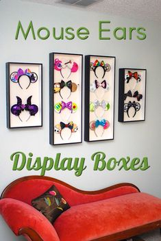 Display your Mouse Ears! These Disney mouse ears boxes are so easy to make! Under $5. Makes displaying your custom mouse ears so easy.