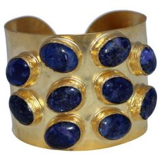 Check out this item at One Kings Lane! Blue Lapis & Goldtone Cuff
