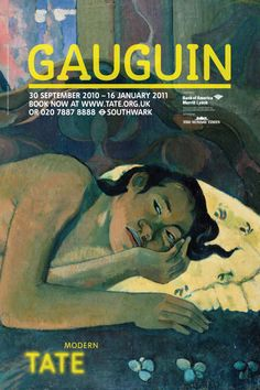 In very good condition (as new) Paul Gauguin, Tate Modern Retrospective poster, x Featuring the painting 'Nevermore. Van Gogh Exhibition, Art Exhibition Posters, Museum Exhibition, Art Posters, Poster Design Layout, Typography Poster Design, Poster Design Inspiration, Graphic Design Posters, Shopping