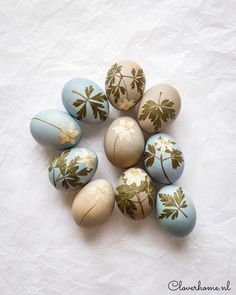 These natural dye Easter eggs are fun to make. Use fruits and vegetables to dye the eggs and pressed flowers and leaves to decorate them. Spring Flowers, White Flowers, Pressed Leaves, Easter Egg Dye, Blue Eggs, Egg Decorating, Growing Flowers, Pansies, Happy Easter