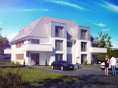 Pure3D visualisierte hier ein Mehrfamilienhaus als klassische 3D Visualisierung für einen Bauträger zur Vermarktung durch einen Makler.