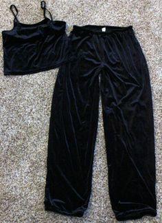 $19.95 Gap Black Velvet Pajama Set Pants Tank Top Small 4 6 Womens Juniors | eBay