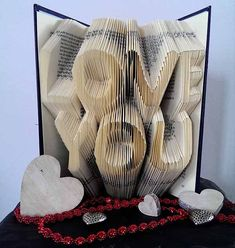 Love You - Folded Book Art - Original Anniversary gift - Boyfriend - Girlfriend - First anniversary - 3D - Words - Love - Anniversary idea