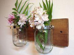 Barnwood mason jar vase - reclaimed wood mason jar planter on Etsy, $22.00
