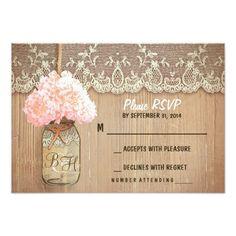 Mason Jar Wedding Invitations hydrangea mason jar rustic wedding RSVP cards