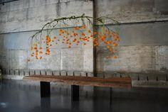 Hanging sculpture/centerpiece - branch+african marigolds+fishing line