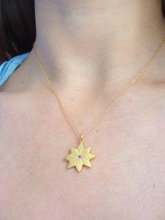 Gold English Daisy Necklace   Rhodolite Garnet Center   Gold Floral Pendant   LiliKleinJewelry.com