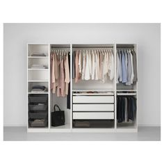 "IKEA - PAX, Wardrobe, 98 3/8x22 7/8x79 1/4 "", , 10-year Limited Warranty. Read about the terms in the Limited Warranty brochure.You can easily adapt this ready-made PAX/KOMPLEMENT combination to suit your needs and taste using the PAX planning tool.If you want to organize inside you can complement with interior organizers from the KOMPLEMENT series.Adjustable feet make it possible to compensate for any irregularities in the floor."