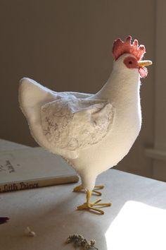 Peluche gallina Livorno pollo bambola a mano di PetChickenRanch