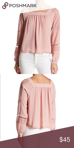 1c8a9e6d2a 💕Lace Sleeve Crepe Blouse in Dusky Pink NWT💕 - Lace Trim - Square neck