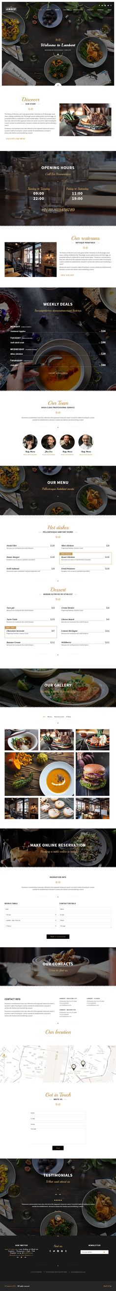 Lambert is Premium Responsive Retina Parallax Restaurant HTML5 template. Bootstrap 3. One Page. Google Map. Video Background. #Parallax #Restaurant #VideoBackground Test free demo at: http://www.responsivemiracle.com/cms/lambert-premium-responsive-restaurant-cafe-pub-html5-template/