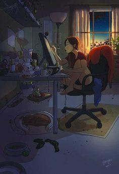 Una artista refleja en una serie de dibujos la magia de vivir solo