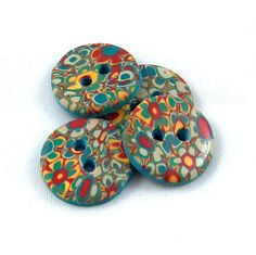 Blue Flowers Buttons No99 by beckysuecreations on Etsy, $5.25