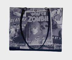 ZombieTote Carry All Library Bag Shopping Tote by SaracinoDesigns Library Bag, Scary Movies, School Bags, Shopping Bag, Totes, Buy And Sell, Tote Bag, Fabric, Fun