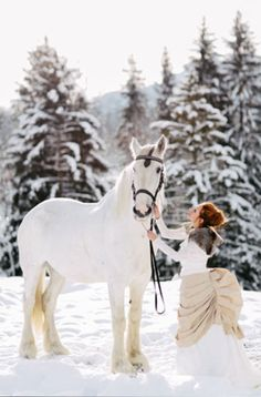 Horses and a bustle dress... oh to go riding in such an outfit! and in a winter wonderland? Lovely!