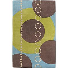 Introduce style into your home decor with this Mayflower rug. Area rug is made of 100-percent hand-tufted wool and features a contemporary motif. It is highlighted by shades of sky, apple green, light brown and beige.
