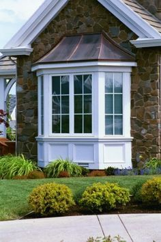 More ideas below: DIY Bay Windows Exterior Ideas Nook Bay Windows Seat and Plants Dining Bay Windows Shutters Bay Windows Trim Treatments Kitchen Bay Windows Bench Bay Windows Blinds Curtains Bay Windows Bedroom and Living Room Bay Window Exterior, Wall Exterior, Stone Exterior, Exterior Shutters, Built In Bench, House Front, Architecture, Home Remodeling, Villa