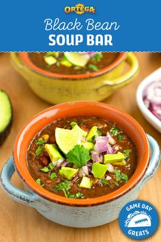Visit us for Mexican meals made easy™. Find delicious family recipes for tacos, taco seasoning, salsa and dips. Black Bean Soup, Black Beans, Soup Bar, Nibbles For Party, Fresh Lime, Body Workouts, Easy Weeknight Meals, Taco Seasoning, Soups And Stews