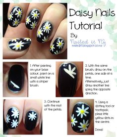 Nailed It NZ: Daisy Nails Tutorial – bring a bit of spring to your manicure! – kelly johnson Nailed It NZ: Daisy Nails Tutorial – bring a bit of spring to your manicure! Nailed It NZ: Daisy Nails Tutorial – bring a bit of spring to your manicure! Nail Art Designs, Simple Nail Designs, Nail Polish Designs, Design Art, Daisy Nail Art, Flower Nail Art, Diy Daisy Nails, Cute Simple Nails, Cute Nails