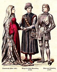 Fifteenth Century - Germany  Lady's Dress (Mid 1400), Townsman of Ravensburg (1429), Knight of Stettenberg (1428)