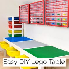 This DIY Lego table IKEA hack is so easy! Turns a simple IKEA Lack table into the perfect place to create and play. Get the tutorial and find out where to buy those amazing drawers at The Handyman's Daughter! ikea DIY Lego Table with Storage Lego Tisch Ikea Hack, Table Lego Ikea, Lego Table With Storage, Lego Desk, Lego Wall, Lego Duplo Table, Lego Building Table, Craft Table Ikea, Laquer Une Table
