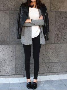 black denim, loafers/menswear inspired shoe, white tee, cardigan, moto jacket