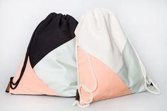 Rucksäcke - Turnbeutel mit geometrischen Taschen, mimt/korall - ein Designerstück von dtail bei DaWanda