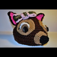 Crocheted deer hat with camo bow that I made