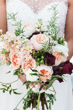 Peach, dark red, white bouquet // A Muse Photography Wedding Chair Bows, Wedding Chairs, Dark Red, Red And White, October 29, Wedding Vendors, Warm And Cozy, Special Day, Floral Arrangements