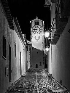 Tavira Church Bell Tower At Night - Portugal Print by Barry O Carroll Fine Art America, Portugal, Tower, Night, Street, Photography, Image, Fotografie, Photograph
