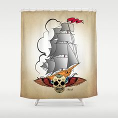 Skull and Pirate Ship Shower Curtain