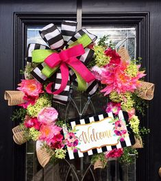 Welcome Wreath Floral Wreath Spring Wreath Wreath for front Front Door Decor, Wreaths For Front Door, Door Wreaths, Burlap Wreaths, Diy Wreath, Grapevine Wreath, Wreath Ideas, Initial Wreath, Wreath Making