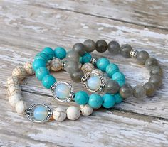 Gemstone Bracelets with Opal Focal