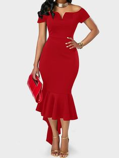 Off the Shoulder Asymmetric Hem Red Sheath Dress, high quality fabric and better service, cute party dress for women, check it out. Trendy Dresses, Women's Fashion Dresses, Elegant Dresses, Sexy Dresses, Beautiful Dresses, Evening Dresses, Casual Dresses, Pink Dresses, Fashion Clothes
