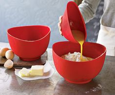 Flex-It silicone bowl has a rim that forms a spout when squeezed, great for precise, easy pouring. The bowl's textured bottom grips the countertop. Microwavable and dishwasher-safe, red bowls ($49 for three) come in 1-, 2-, and 3-quart capacities.  williams-sonoma.com