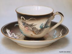 Moriage Dragonware demitasse and saucer set, Vintage handpainted nippon china, collectible japanese porcelain ,