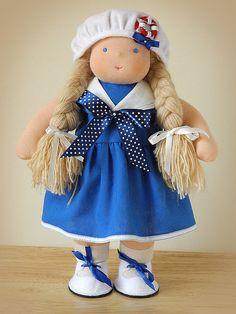 """05.07.2012 Waldorf Doll """"Poushinka"""", $158   Работа дня: Вальдорфская кукла Пушинка  Пушинка - озорная девчушка, любит путешествия и море. Кукла сшита из голландского кукольного трикотажа высокого качества, набита чистой овечьей шерстью."""