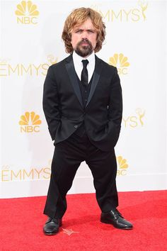 Game of Thrones star Peter Dinklage gets serious on the Emmy Awards red carpet.
