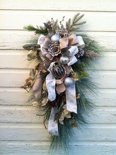 CUSTOM order for Kate Christmas Door Swag by marigoldsdesigns