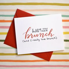More Than Brunch Card  Funny Valentine's Day  by letterandink