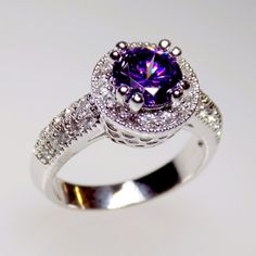 dark purple halo engagement ring cz ring halo by MyrasCollections