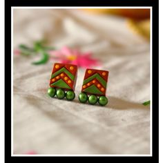 Green terracota stud  - Online Shopping for Earrings by Artkarte