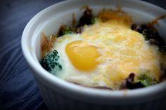 Baked Eggs w/Broccoli, Mushrooms & Cheese