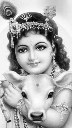 Krishna with gau Krishna Leela, Krishna Hindu, Krishna Statue, Radha Krishna Images, Cute Krishna, Lord Krishna Images, Radha Krishna Photo, Krishna Radha, Shiva