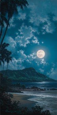 Hawaii blue night beach