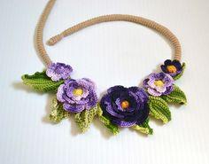 Purple crochet necklace choker flower floral by FlowersbyIrene