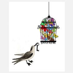 Bird Has The Key, $28 by Zlatka Paneva, Artist and Owner, Rococco-LA, now featured on Fab.