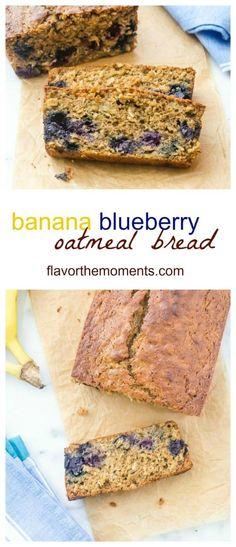 Banana Blueberry Oatmeal Bread is a healthier banana bread recipe that ...