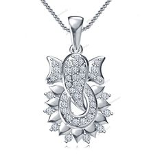 """925 Sterling Silver Round Cut Diamond Ganesh Pendant For 18"""" Chain Free Pouch…"""